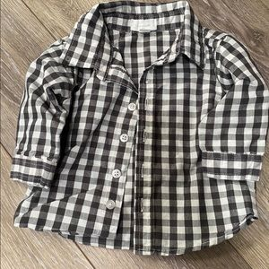 Gray and White Plaid Button Up